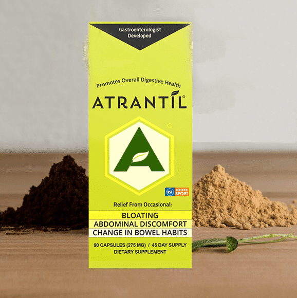 90 count box of Atrantil with Ingredients around it