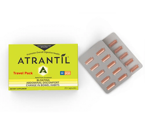 20 count travel pack of Atrantil with the blister pack next to it.