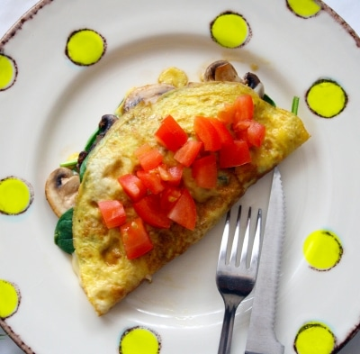 Swiss Spinach and Mushroom Omelette