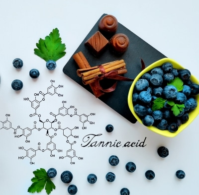 polyphenols like chocolate and blueberries on a plate with the tannic acid code.