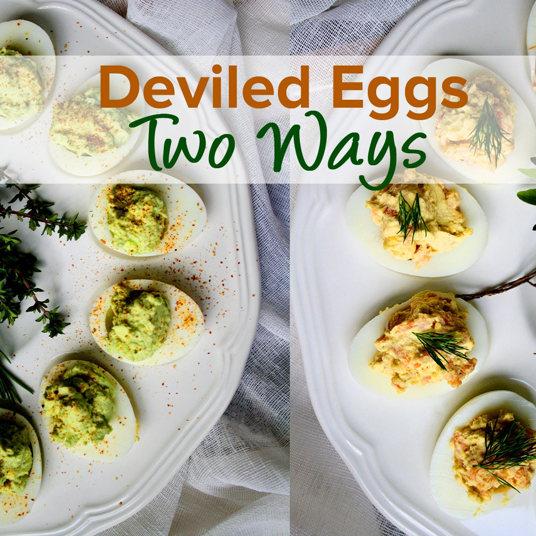 Deviled Eggs Two Ways: Wasabi & Smoked Salmon