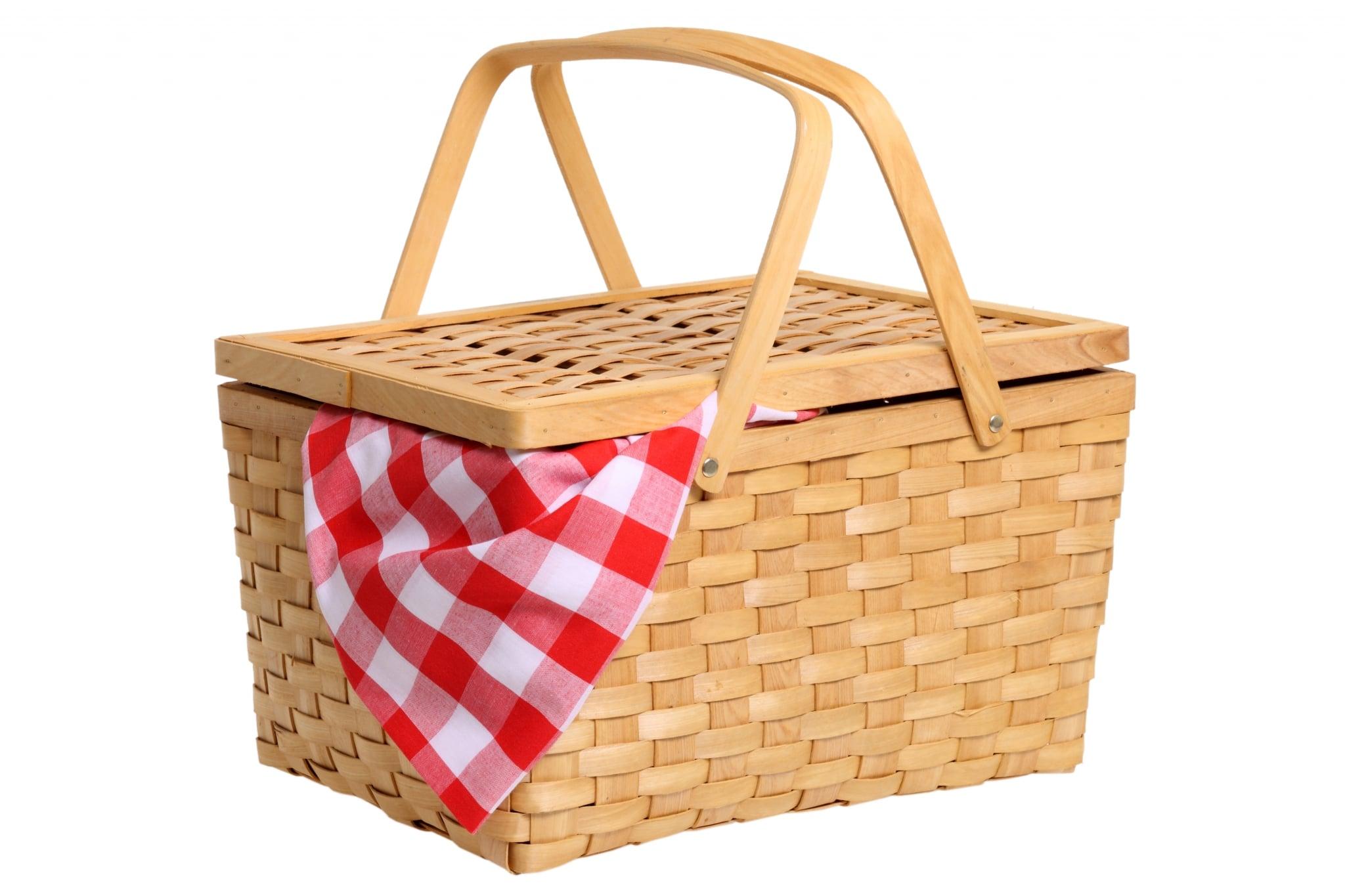 Picnic basket cutout on white background