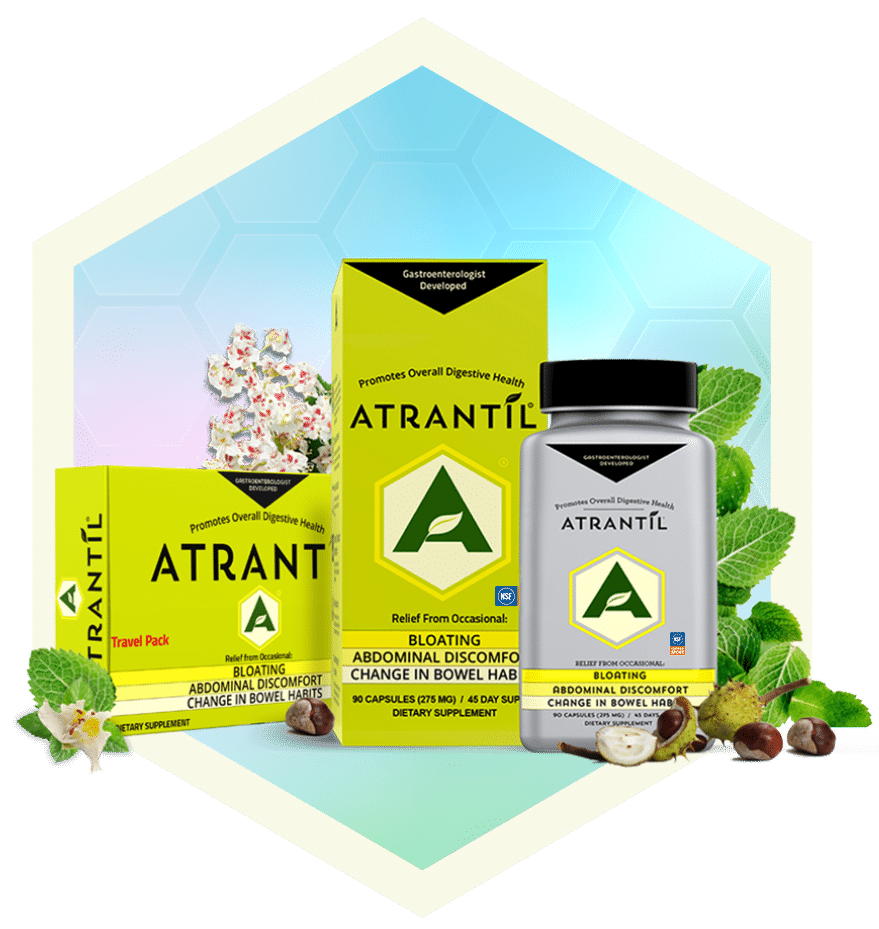 90 count box and bottle of Atrantil, a 20 count travel pack of Atrantil, and the ingredients of Atrantil around them.
