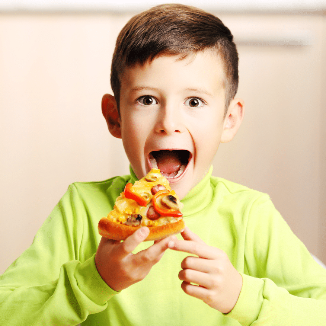 Kid With Slice Of Pizza