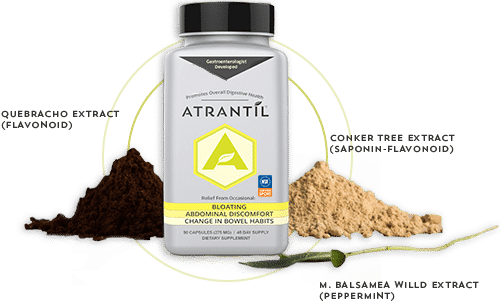 90 count bottle of Atrantil, and the ingredients of Atrantil around them.