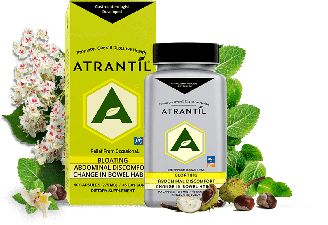 90 count box and bottle of Atrantil, and the ingredients of Atrantil around them.