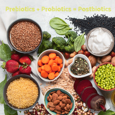 Bowls of food that are Pre, Pro, and Postbiotics