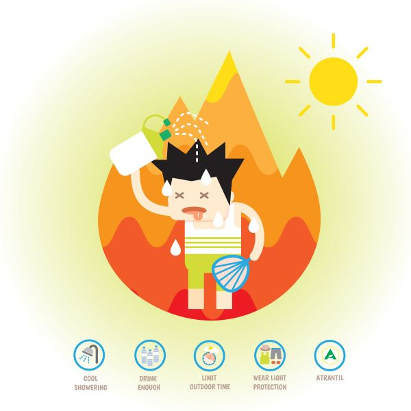 A person trying to cool down in the summer heat by pouring water on their head.