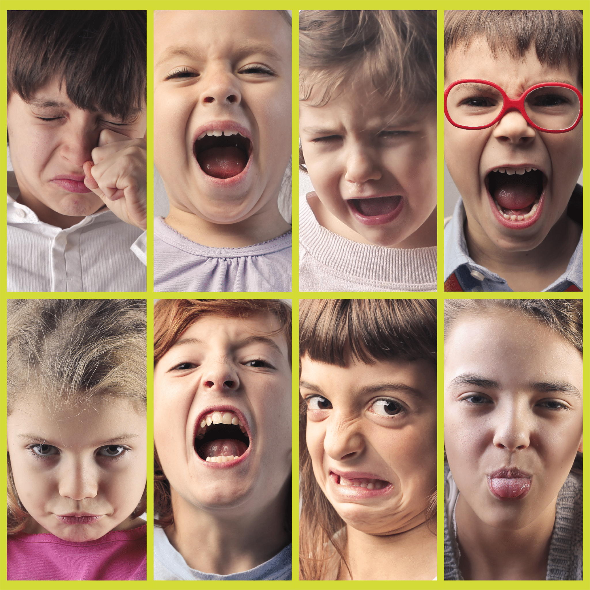 8 pictures of children showing different moods